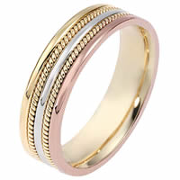 Item # 110511NA - 14 K Tri-Color Wedding Band