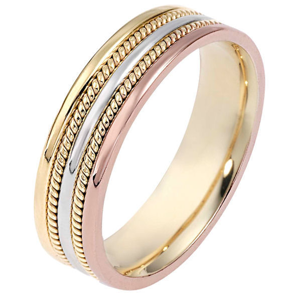 Item # 110511NE - 18 kt tri-color gold, hand made, comfort fit, 5.0 mm wide wedding band. The ring has two hand made ropes on each side of the band. The whole ring is polished. Different finishes may be selected or specified.
