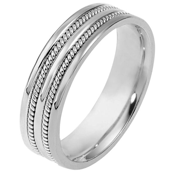 Item # 110511WE - 18 kt white gold, hand made comfort fit Wedding Band 5.5 mm wide. The ring has two hand made ropes on each side of the band. The whole ring is polished. Different finishes may be selected or specified.