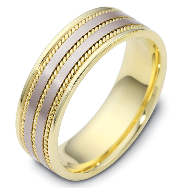 Two-Tone Gold 7mm Handmade Comfort Fit Wedding Band