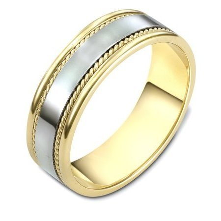 Item # 110541 - 14 kt two-tone all polished hand made comfort fit Wedding Band 7.0 mm wide. The ring has 2 handmade ropes inlayed on each side. The whole ring is polished. Different finishes and combinations may be selected or specified.
