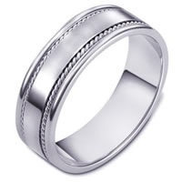 18K White Comfort Fit 7mm Handmade Wedding Band