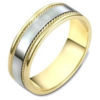 Item # 110541E - Two-Tone Gold Comfort Fit 7mm Handmade Wedding Band