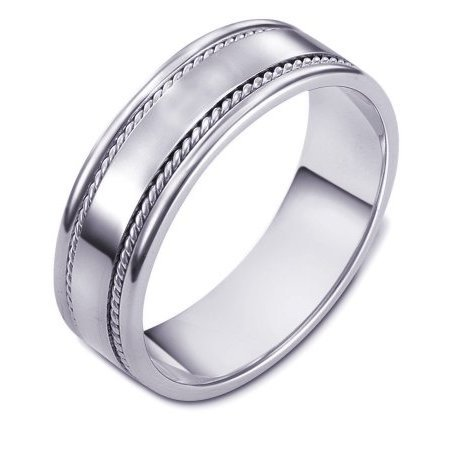 Item # 110541PP - Platinum all polished hand made comfort fit Wedding Band 7.0 mm wide. The ring has 2 handmade ropes inlayed on each side. The whole ring is polished. Different finishes and combinations may be selected or specified.