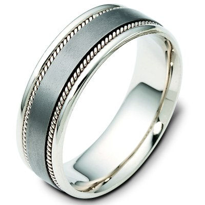 Item # 110541TG - 14Kt white gold and titanium, brushed center comfort fit, 7.0 mm wide wedding band. The ring has 2 handmade ropes inlayed on each side. The whole ring is polished. Different finishes and combinations may be selected or specified.