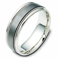 Item # 110541TG - Titanium-Gold Comfort Fit 7mm Handmade Wedding Band