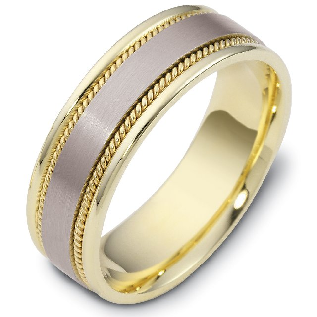 Item # 110551E - 18 kt two-tone brushed center hand made comfort fit Wedding Band 7.0 mm wide.
