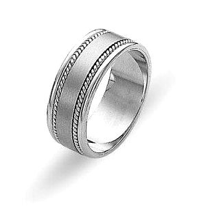 Item # 110551PD - Palladium, hand made, comfort fit, 7.0 mm wide wedding band. Center part is brushed and sides are high polish