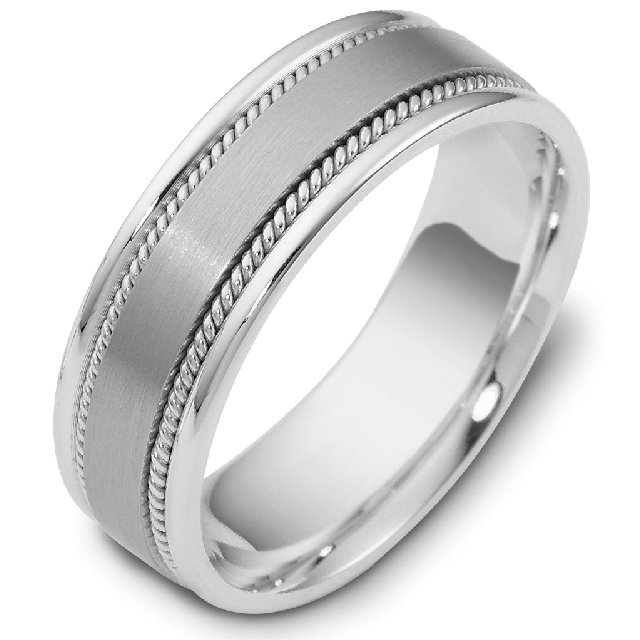 Item # 110551W - 14 kt white gold, brushed centehand made comfort fit Wedding Band 7.0 mm wide.