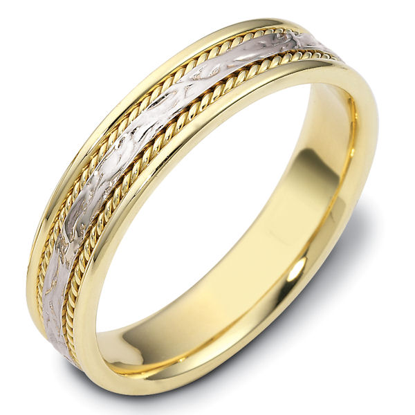 Item # 110561E - 18 kt two-tone hand made comfort fit Wedding Band 5.0 mm wide. The ring has 2 handmade ropes on each side of the band. The center is patterned with a polished finish. Different finishes may be selected.