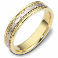 Item # 110561E - Two-Tone Gold Comfort Fit 5mm Handmade Wedding Band