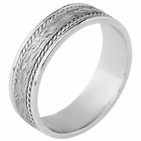 18K White Gold Comfort Fit 7mm Handmade Wedding Band