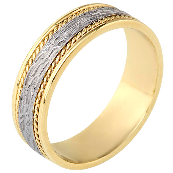 Item # 110571E - 18 kt two-tone hand made comfort fit Wedding Band 7.0 mm wide. The ring has 2 handmade ropes on each side of the band. The center is patterned with a polished finish. Different finishes may be selected.