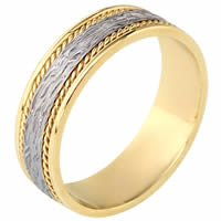 Item # 110571 - Two-Tone Gold Comfort Fit 7mm Handmade Wedding Band