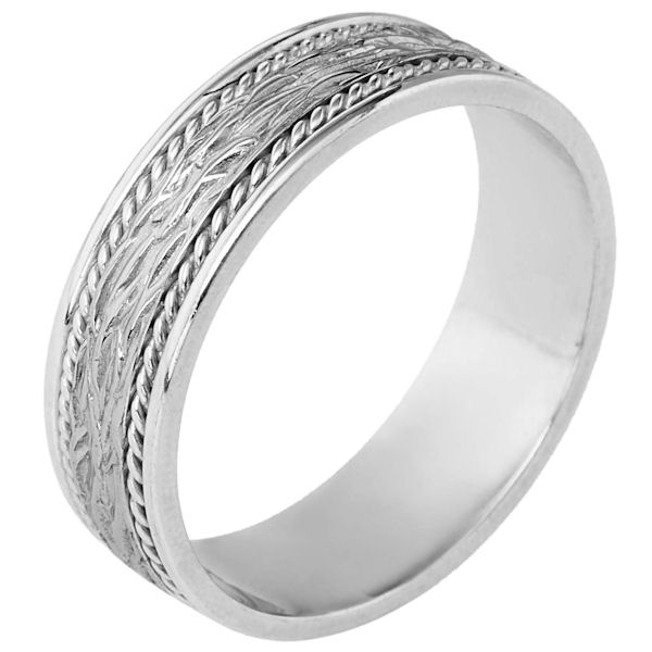 Item # 110571W - 14 kt white gold, hand made comfort fit Wedding Band 7.0 mm wide. The ring has 2 handmade ropes on each side of the band. The center is patterned with a polished finish. Different finishes may be selected.