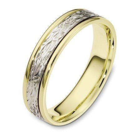 Item # 110581E - 18 kt two-tone hand made comfort fit Wedding Band 5.0 mm wide. The ring has a beautiful pattern in the center with a polished finish. Different finishes may be selected or specified.