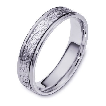 Item # 110581WE - 18 kt white gold, hand made comfort fit Wedding Band 5.0 mm wide. The ring has a beautiful pattern in the center with a polished finish. Different finishes may be selected or specified.