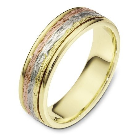 Item # 110591E - 18 kt tri-tone hand made comfort fit Wedding Band 6.0 mm wide. The ring has a beautiful pattern in the center with a polished finish. Different finishes may be selected or specified.