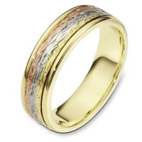 Item # 110591E - 18K Tri-Color Gold Comfort Fit 6mm Wedding Band