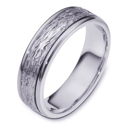 Item # 110591WE - 18 kt white gold, hand made comfort fit Wedding Band 6.0 mm wide. The ring has a beautiful pattern in the center with a polished finish. Different finishes may be selected or specified.