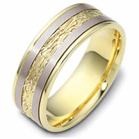 Item # 110601E - 18K Two-Tone Gold Comfort Fit 7mm Wedding Band