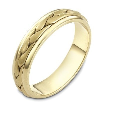 Item # 110611 - 14 kt hand made comfort fit Wedding Band 5.0 mm wide. The ring has a handmade braid in the center with a brush finish. The edges are polished. Different finishes may be selected or specified.