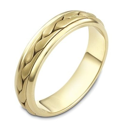 Item # 110611E - 18 kt hand made comfort fit Wedding Band 5.0 mm wide. The ring has a handmade braid in the center with a brush finish. The edges are polished. Different finishes may be selected or specified.