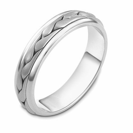 Item # 110611PP - Platinum hand made comfort fit Wedding Band 5.0 mm wide. The ring has a handmade braid in the center with a brush finish. The edges are polished. Different finishes may be selected or specified.