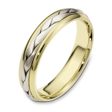 Item # 110621E - 18 kt two-tone hand made comfort fit Wedding Band 5.0 mm wide. The ring has a handmade braid in the center with a brush finish. The edges are polished. Different finishes may be selected or specified.