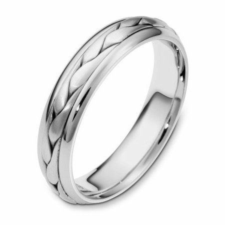 Item # 110621W - 14 kt white gold, hand made comfort fit Wedding Band 5.0 mm wide. The ring has a handmade braid in the center with a brush finish. The edges are polished. Different finishes may be selected or specified.