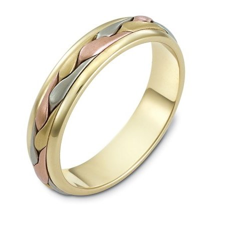 Item # 110641E - 18 kt tri-color hand made comfort fit Wedding Band 5.0 mm wide. The ring has a handmade braid in the center with a brush finish. The edges are polished. Different finishes may be selected or specified.