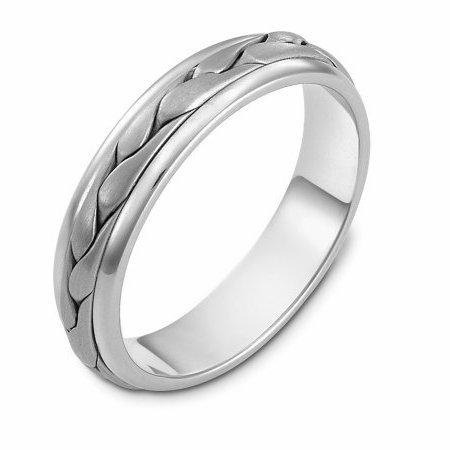 Item # 110641PP - Platinum hand made comfort fit Wedding Band 5.0 mm wide. The ring has a handmade braid in the center with a brush finish. The edges are polished. Different finishes may be selected or specified.