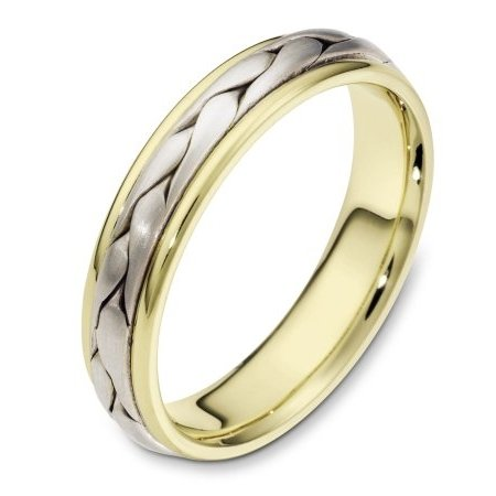 Item # 110661 - 14 kt two-tone hand made comfort fit Wedding Band 5.0 mm wide. The ring has a handmade braid in the center with a brush finish. The edges are polished. Different finishes may be selected or specified.