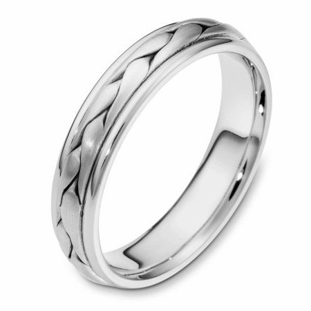 Item # 110661WE - 18 kt white gold, hand made comfort fit Wedding Band 5.0 mm wide. The ring has a handmade braid in the center with a brush finish. The edges are polished. Different finishes may be selected or specified.