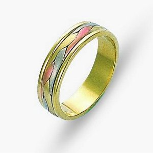 Item # 110681 - 14 kt tri-color hand made comfort fit Wedding Band 5.0 mm wide. The ring has a handmade braid in the center with a brush finish. The edges are polished. Different finishes may be selected or specified.