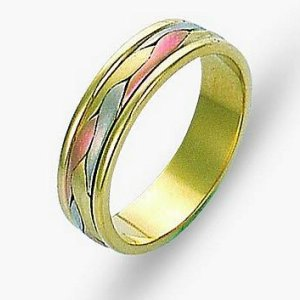 Item # 110681E - 18 kt tri-color hand made comfort fit Wedding Band 5.0 mm wide. The ring has a handmade braid in the center with a brush finish. The edges are polished. Different finishes may be selected or specified.