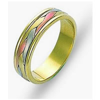 Item # 110681E - Two-Tone Wedding Band 18 kt Hand Made