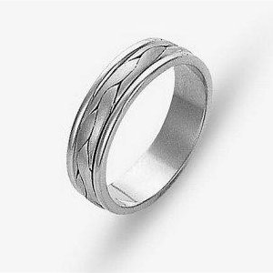Item # 110681PP - Platinum hand made comfort fit Wedding Band 5.0 mm wide. The ring has a handmade braid in the center with a brush finish. The edges are polished. Different finishes may be selected or specified.