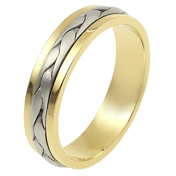 Item # 110691 - 14 kt two-tone hand made comfort fit Wedding Band 5.0 mm wide. The ring has a handmade braid in the center with a brush finish. The edges are polished. Different finishes may be selected or specified.