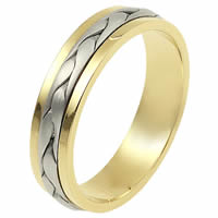 Item # 110691E - Two-Tone Wedding Band 18 kt Hand Made