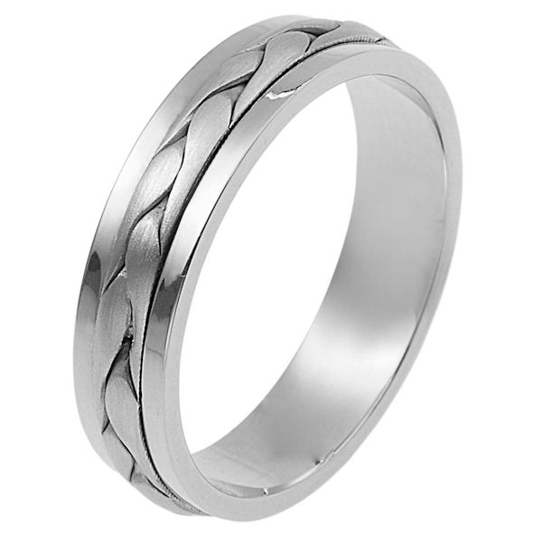 Item # 110691W - 14 kt white gold, hand made comfort fit Wedding Band 5.0 mm wide. The ring has a handmade braid in the center with a brush finish. The edges are polished. Different finishes may be selected or specified.