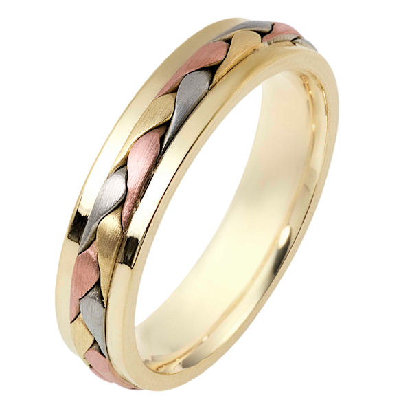 Item # 110701 - 14 kt tri-color hand made comfort fit Wedding Band 5.0 mm wide. The ring has a handmade braid in the center with a brush finish. The edges are polished. Different finishes may be selected or specified.