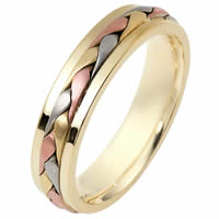Item # 110701E - Tri-Color Wedding Band 18 kt Hand Made