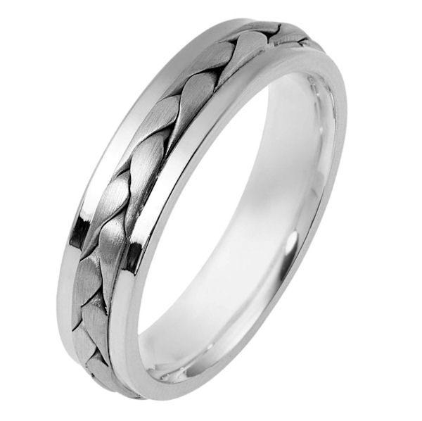 Item # 110701PP - Platinum hand made comfort fit Wedding Band 5.0 mm wide. The ring has a handmade braid in the center with a brush finish. The edges are polished. Different finishes may be selected or specified.