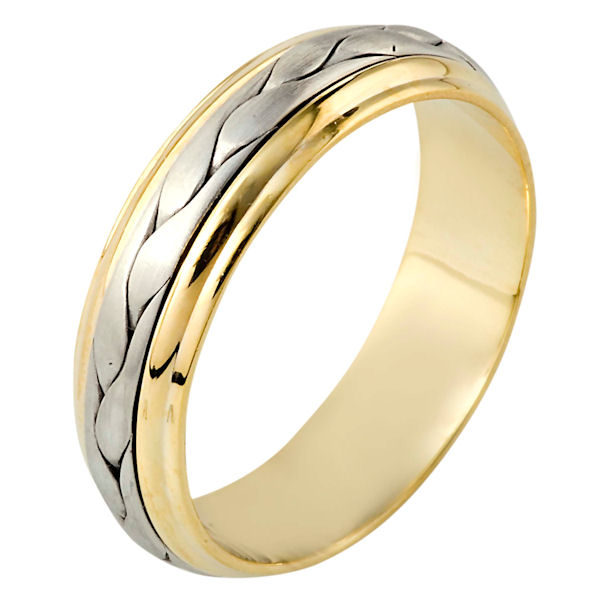Item # 110711E - 18 kt two-tone hand made comfort fit Wedding Band 6.0 mm wide. The ring has a handmade braid in the center with a brush finish. The edges are polished. Different finishes may be selected or specified.