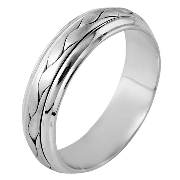 Item # 110711W - 14 kt white gold, hand made comfort fit Wedding Band 6.0 mm wide. The ring has a handmade braid in the center with a brush finish. The edges are polished. Different finishes may be selected or specified.