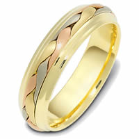 Item # 110721E - Tri-Color Wedding Band 18 kt Hand Made