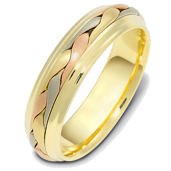 Item # 110721E - 18 kt tri-color hand made comfort fit Wedding Band 6.0 mm wide. The ring has a handmade braid in the center with a brush finish. The edges are polished. Different finishes may be selected or specified.