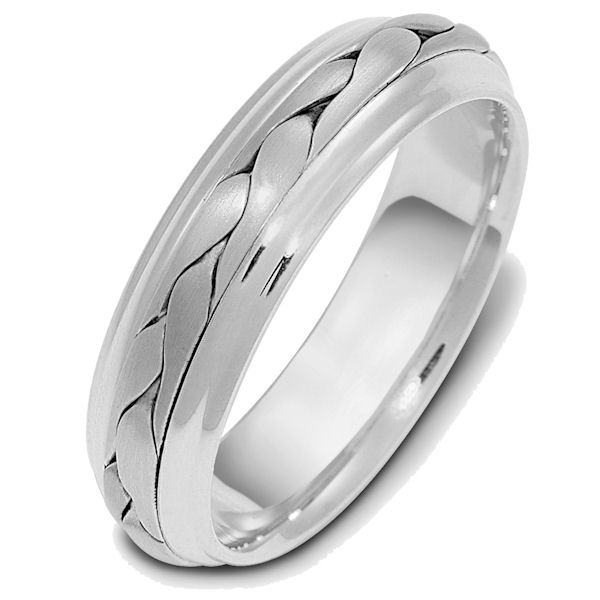 Item # 110721PP - Platinum hand made comfort fit Wedding Band 6.0 mm wide. The ring has a handmade braid in the center with a brush finish. The edges are polished. Different finishes may be selected or specified.