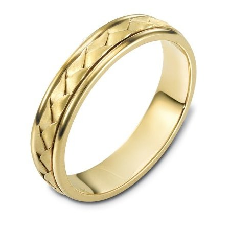 Item # 110731 - 14 K Hand Made comfort fit Wedding Band 5.0 mm wide. The ring has a handmade braid in the center with a brush finish. The edges are polished. Different finishes may be selected or specified.